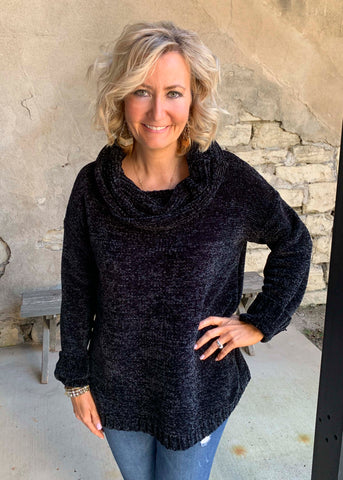 Black velvet cowl neck sweater