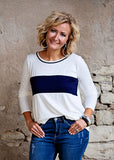 Ivory Color Block With Elbow Patch top