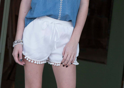 Off White Shorts with Pom Pom Fringe