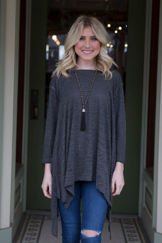 Charcoal Tunic with Criss Cross Back Cutout
