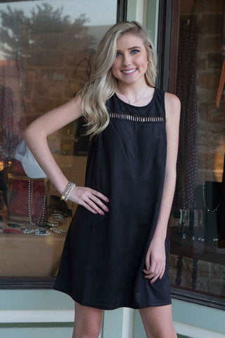 Black sleeveless faux suede dress , Lucky Rhinestone Boutique - 1