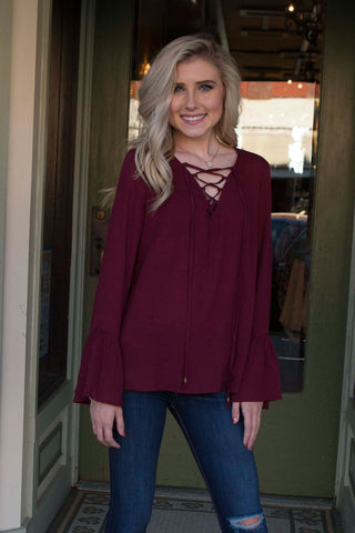 Burgundy with front tie shirt and bell sleeves , Lucky Rhinestone Boutique - 1