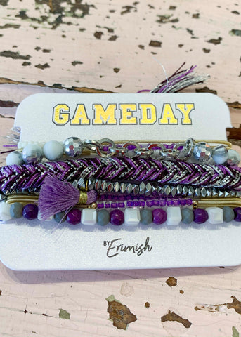 Purple Silver Gameday Erimish Bracelet
