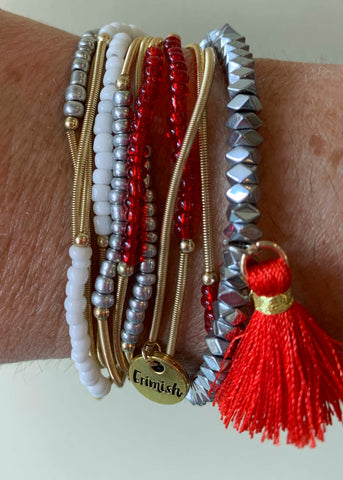 Red Silver White Game Day Erimish Bracelet