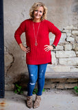 Dark Red Long Sleeve Round Neck Sweater