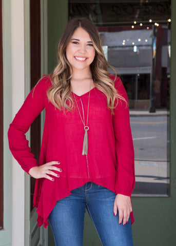 Red long sleeve high low tunic