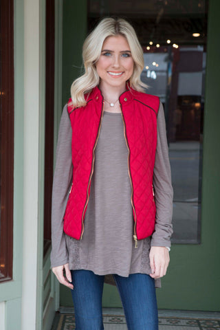 Red Vest with Suede Piping