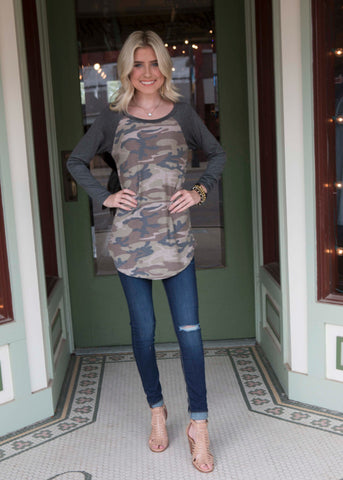 Camo Long Sleeve Top with Charcoal Sleeves