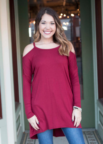 Burgundy Long Sleeve Open Shoulder Tunic , Lucky Rhinestone Boutique - 1