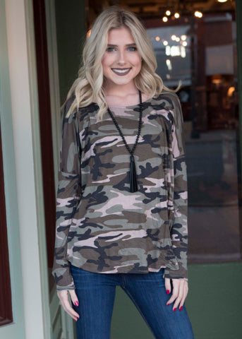 Camo print long sleeve tunic with round neck , Lucky Rhinestone Boutique - 1