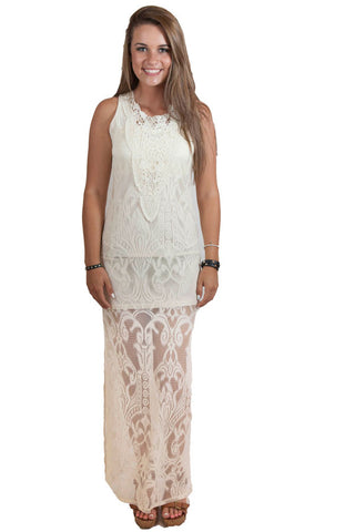 Cream Dress with embroidered detail , Lucky Rhinestone Boutique - 1