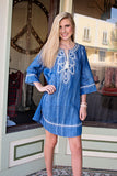Embroidered denim dress , Lucky Rhinestone Boutique - 2