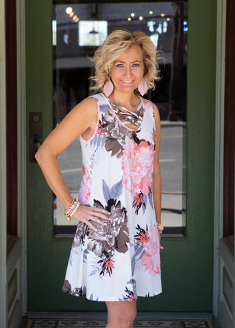 Floral Dress With Side Pockets