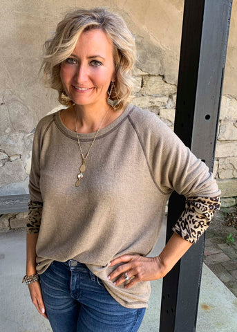 Taupe cashmere with leopard sleeves