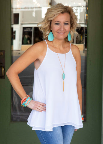 White Double Layer Tank Top