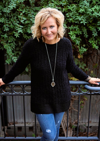Black Long Sleeve Round Neck Sweater