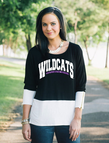 K State Colorblock long sleeve with zippers , Lucky Rhinestone Boutique