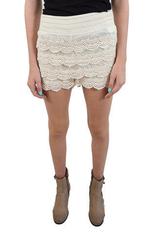 Cream Lace Shorts , Lucky Rhinestone Boutique
