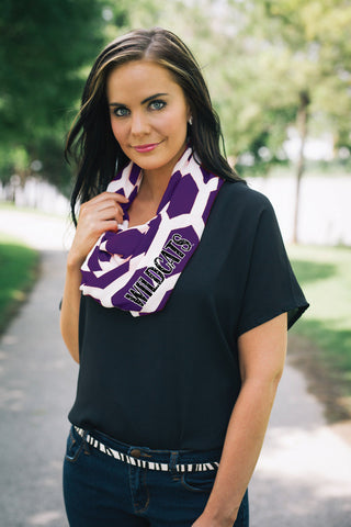 K State Wildcat Purple scarf , Lucky Rhinestone Boutique