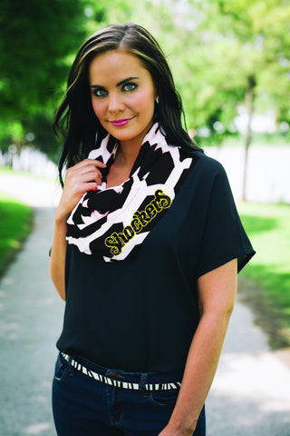 Black and white Wichita State Shocker Scarf , Lucky Rhinestone Boutique