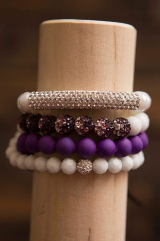 Erimish set of 4 bracelets - Purple White