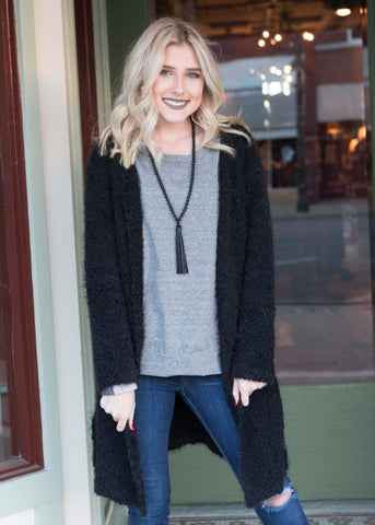 Black long cardigan , Lucky Rhinestone Boutique - 1