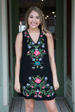 Black Sleeveless Dress With Floral Embroidery