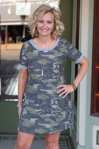 Camo Short Sleeved Dress
