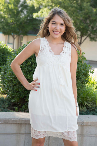 Cream Sleeveless Dress with Lace Details , Lucky Rhinestone Boutique - 1