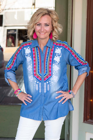 Denim Bright Colored Embroidered shirt