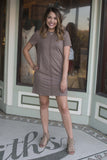Short sleeve faux suede dress , Lucky Rhinestone Boutique - 2
