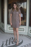 Short sleeve faux suede dress , Lucky Rhinestone Boutique - 3