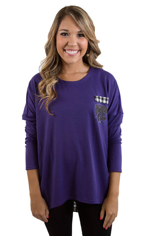 K State Wildcats oversized gingham piko top , Lucky Rhinestone Boutique - 1