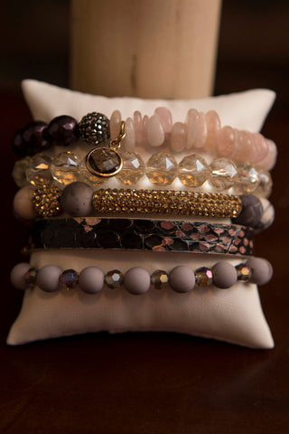 Erimish Gift Set Box of 5 bracelets - Mauve with dark leather