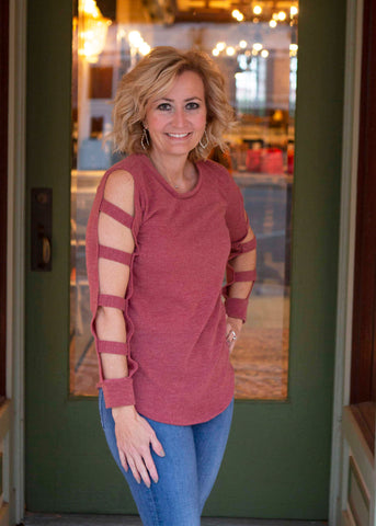 Dark Mauve ladder cut out tunic