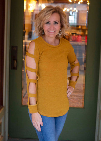 Mustard ladder cut out tunic