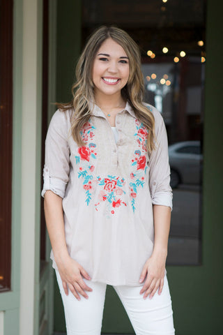 Light Taupe Embroidered Shirt