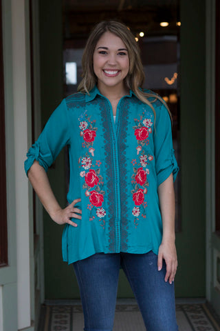 Turquoise Taupe Embroidered Shirt
