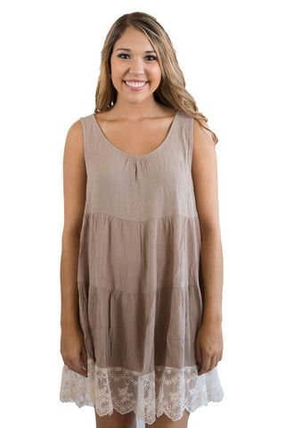 Mocha Tiered Tank Dress / Tunic , Lucky Rhinestone Boutique - 1