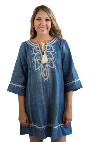 Embroidered denim dress , Lucky Rhinestone Boutique - 1