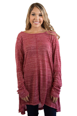 Peppered Burgundy Tunic , Lucky Rhinestone Boutique - 1