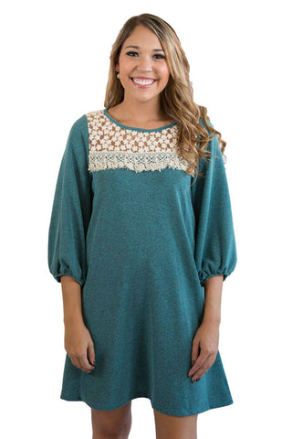 Teal embroidered dress , Lucky Rhinestone Boutique - 1