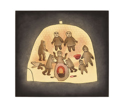 TOGETHER ON A WINTER NIGHT - Northern Expressions | Meelia Kelly - Print | | Canadian Indigenous & Inuit Art