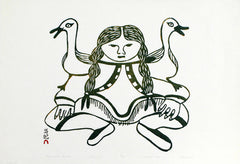 GIRL WITH GULLS - Northern Expressions | Pitaloosie Saila - Print | | Canadian Indigenous & Inuit Art