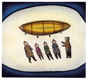 FIVE MEN AND A BOAT - Northern Expressions | Ohotaq Mikkigak - Print | | Canadian Indigenous & Inuit Art