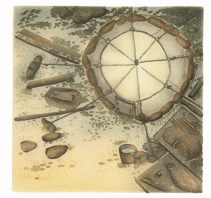 Camp Site by Shuvinai Ashoona. Cape Dorset Print Collection