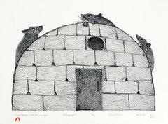SNOWHOUSE AND LEMMINGS - Northern Expressions | KAKULU SAGGIAKTOK - Print | | Canadian Indigenous & Inuit Art
