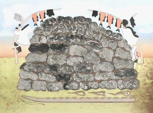 DRYING MEAT FOR WINTER - Northern Expressions | Mary Pudlat - Print | | Canadian Indigenous & Inuit Art