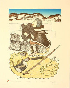 BLOWING THE AVATAQ - Northern Expressions | Mary Pudlat - Print | | Canadian Indigenous & Inuit Art
