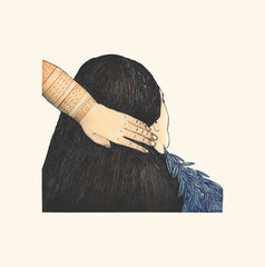 Braiding My Hair - Northern Expressions | Ningeokuluk Teevee - Print | | Canadian Indigenous & Inuit Art